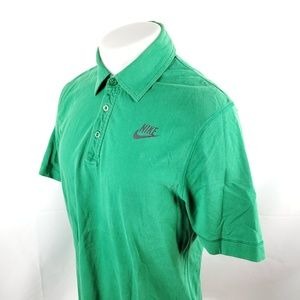 Nike Mens Polo Rugby Shirt Large S/S Solid Green